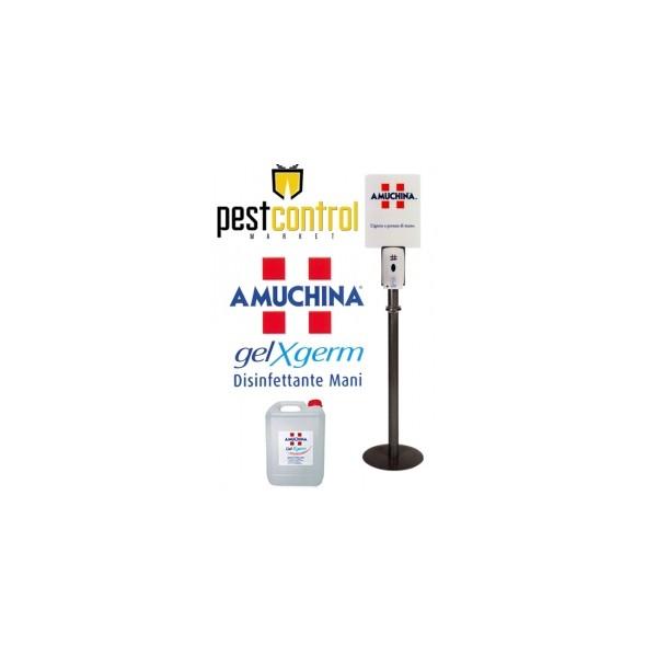 KIT AMUCHINA GEL X-GERM - PIANTANA completa di DISPENSER automatico e RICARICA da 5 litri di Gel