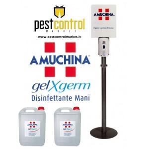KIT AMUCHINA GEL X-GERM - PIANTANA completa di DISPENSER automatico e 2 RICARICHE da 5 litri